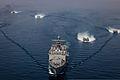 Four U.S. Navy landing craft, air cushion maneuver behind the amphibious dock landing ship USS Rushmore (LSD 47) during an amphibious exercise in the Arabian Sea March 29, 2013 130329-M-HW830-546.jpg