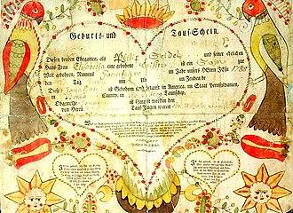 Lancaster County, Pennsylvania - A Pennsylvania Dutch Fraktur baptismal certificate from 1788