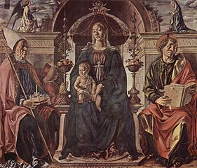 Madonna enthroned with child and Saints Petronius and John the Evangelist