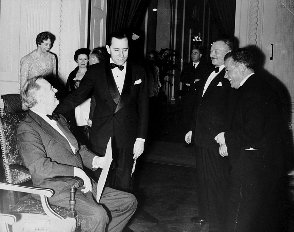 Franklin and Eleanor Roosevelt, David and Emma Dubinsky, Max Danish and others at a White House production of %22Pins %26 Needles%22