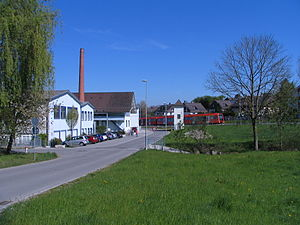 Fraubrunnen - Factory and train (Kirchgasse)