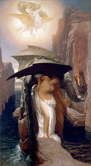 Andromeda (mythology) - Perseus and Andromeda (Andromeda tied to the rock while Perseus on the winged horse Pegasus flies above), by Frederic Leighton
