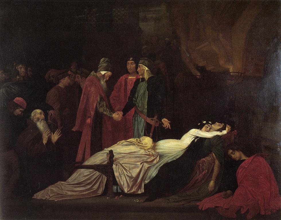 La Reconciliación entre los Montesco y los Capuleto tras la muerte de Romeo y Julieta (The Reconciliation of the Montagues and Capulets over the Dead Bodies of Romeo and Juliet). Pintura de Frederic Lord Leighton.