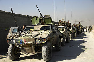 Kapisa Province - French army soldiers prepare their vehicles for a convoy prior to departing camp for Operation Eagle, October 2008