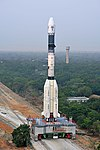 Full view of GSLV-F08 on Mobile Launch Pedestal proceeding towards the Umbilical Tower.jpg