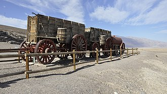 Twenty-mule team - Twenty-mule-team wagons on display in Death Valley, California