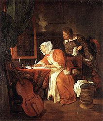Gabriël Metsu - The Letter-Writer Surprised - WGA15095.jpg