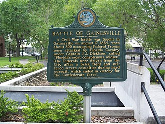 Battle of Gainesville - Historical marker outside city hall about the Battle of Gainesville