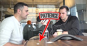 Vaynerchuk with the Patience Sticker on his desk.