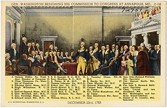 General George Washington Resigning His Commission - Image: Gen. Washington resigning his commission to congress at Annapolis, M. D., December 23rd, 1783 (72751)