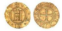 Genovino d'Oro, moneta aurea di Genova, simbolo della potenza economica della repubblica marinara.