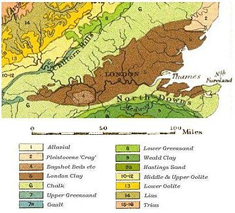 River Brent - A geological map of the London Basin; the London Clay is marked in dark brown.