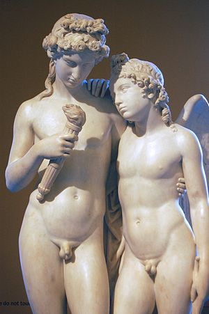 Hymen (god) - Cupid Rekindling the Torch of Hymen, a sculpture by George Rennie