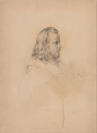 """Ancients (art group) - George Richmond drawing of Samuel Palmer wearing """"Ancient"""" clothing, 1830"""