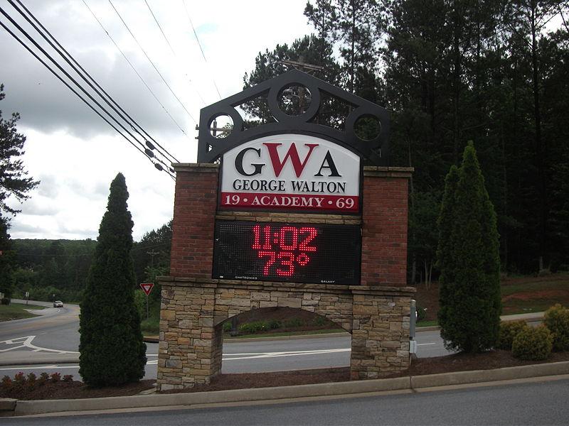 File:George walton academy entrance monroe georgia.JPG