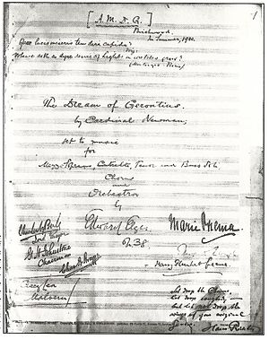 The Dream of Gerontius - Manuscript score, signed by the composer and the performers of the premiere