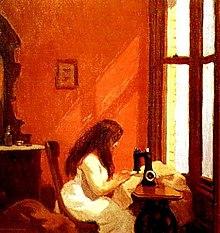 Girl at sewing machine (1921)