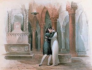 Michele Bisi - Watercolor painting by Michele Bisi of Giulia Grisi and Giuditta Pasta in a production of Giulietta e Romeo in Florence, 1829