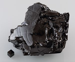 Allotropes of carbon - A large sample of glassy carbon.