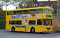 Go North East bus 3900 Volvo Olympian Northern Counties Palatine I no grille R549 LGH Yellow Bus livery in Gateshead 5 May 2009.JPG