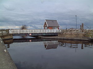 Stainforth and Keadby Canal - Godnow Swing Bridge with level crossing control box