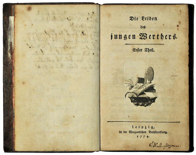 Goethe, Johann Wolfgang: Die Leiden des jungen Werthers. Erstausgabe 1774 - Wikipedia: Foto H.-P.Haack