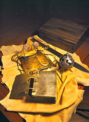 Urim and Thummim (Latter Day Saints) - A 21st-century artistic representation of the golden plates, Urim and Thummim, Sword of Laban, and Liahona