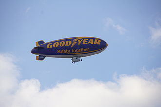 Goodyear Blimp - A Goodyear blimp, near Manchester, England, evening of 30 April 2012
