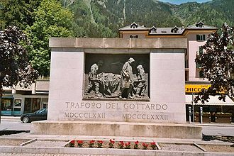 Gotthard Tunnel - Memorial for the dead workers by Vincenzo Vela (1932), fully contributed by himself in 1882