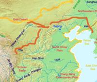 Trường thành dưới thời nhà Tần. Đỏ:thành, Cam:ranh giới quốc gia của Trung Quốc ngày nay.