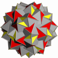 Great snub icosidodecahedron with grey triangle and red triangle.png