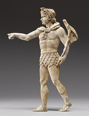 Satyr - This Hellenistic satyr wears a rustic perizoma (loincloth) and carries a pedum (shepherd's crook). Walters Art Museum, Baltimore.