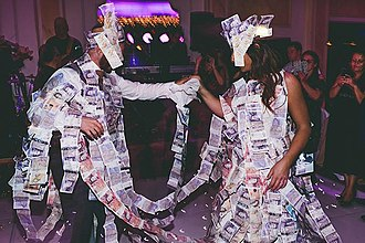 Wedding customs by country - Example of the traditional 'Money Dance' at a Greek wedding.