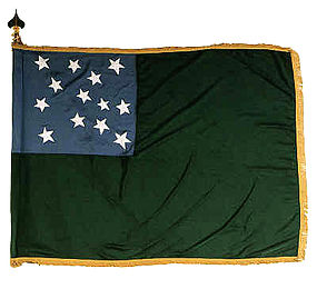 The Flag of the Green Mountain Boys–the republic's Governor's Council and unicameral House of Representatives of the Freemen of Vermont adopted the infantry flag of the Green Mountain Boys as its flag.