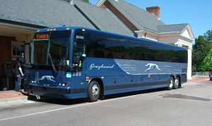 Williamsburg Transportation Center - Greyhound bus operated by Carolina Trailways, a Greyhound subsidiary, loading at Williamsburg's Transportation Center on April 19, 2010.