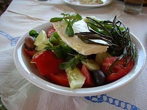 Greek salad - Horiatiki salad as served in the Dodecanese Islands of Hellas