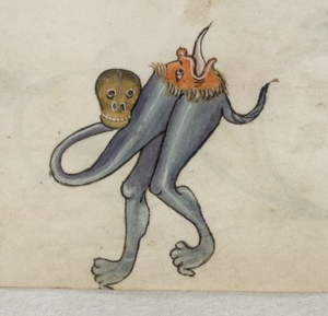 Luttrell Psalter - Grotesque creature in the margins, f 27 r