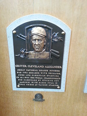 Grover Cleveland Alexander - Alexander's plaque at the National Baseball Hall of Fame and Museum