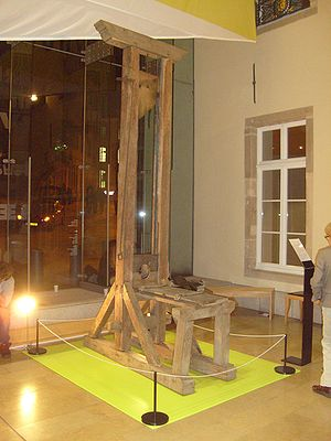 The official guillotine used by the state of Luxembourg from 1789 to 1821. Capital punishment in Luxembourg was abolished in 1979, and the last execution took place in 1949. Guillotine Luxembourg 01.jpg