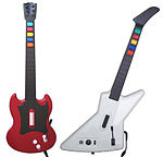 The guitar controllers bundled with Guitar Hero II: cherry red Gibson SG (PS2) and Gibson X-Plorer (Xbox 360)