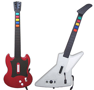 Guitar Hero II - The guitar controllers bundled with Guitar Hero II: cherry red Gibson SG (PS2) and Gibson X-Plorer (Xbox 360)