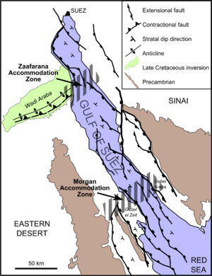 Rift - Gulf of Suez Rift showing main extensional faults