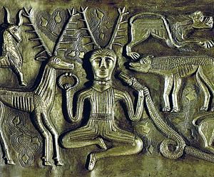 "Horned God - The ""Cernunnos"" type antlered figure on the Gundestrup Cauldron"