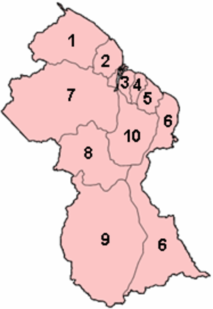 Regions of Guyana - Image: Guyana regions numbered (GINA)