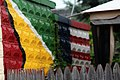 Guyanese flag and American flag painted in Schenectady, New York.jpg