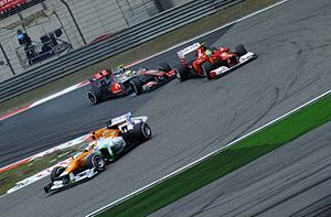 2012 Chinese Grand Prix - Nico Hülkenberg leading Massa and Hamilton