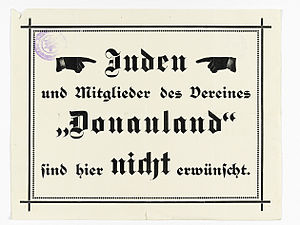 German Alpine Club - Mountain hut notice prohibiting the entry of Jews and Donauland members, c.1930