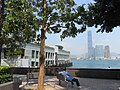 HK Sheung Wan Central Piers Man Kwong Street trees visitors view ICC West Kln Oct-2012.JPG