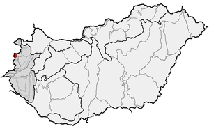 Kőszeg Mountains - Location of Kőszeg Mountains (in red) within physical subdivisions of Hungary