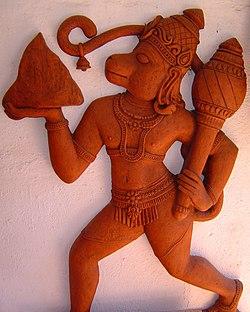 Sculpture of Hanuman carrying the Mount Meru, sculpted in Terra cotta.